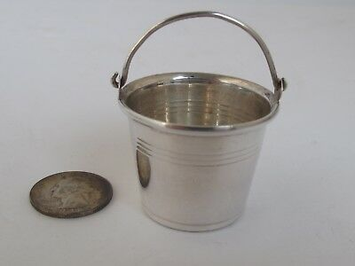 """Vintage Miniature Sterling Silver Bucket 1 1/4"""" tall"""