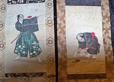 Japanese hand painted silk small scrolls