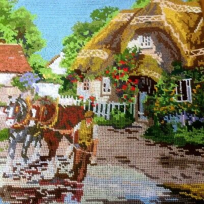 Vintage Woolwork Tapestry Embroidered Picture Panel Country Cottage Scene Horses