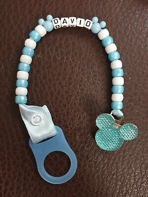 Personalised Baby Girls Boys Beaded Dummy Clip Gift Mickey Mouse Disney ANY NAME