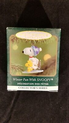 Hallmark Keepsake Ornament Miniature ~ Winter Fun With Snoopy 2001~ 4rth In...