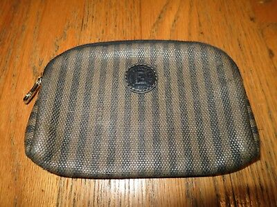 Vintage Fendi Zipper Top Change Coin Purse Wallet Italy