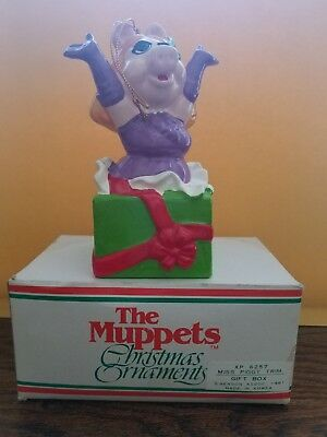 Vintage 1981 The Muppets Miss Piggy Gift Box Christmas Ornament Henson Assoc