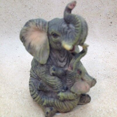 ELEPHANT w BABY FIGURINE Gray Trunk Up Resin Wild Animal Gift Decor A