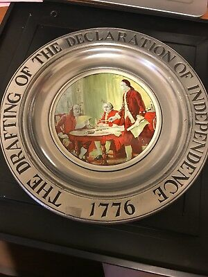 Vintage Wilton Armetale Columbia Pa Declaration Of Independence Pewter Plate