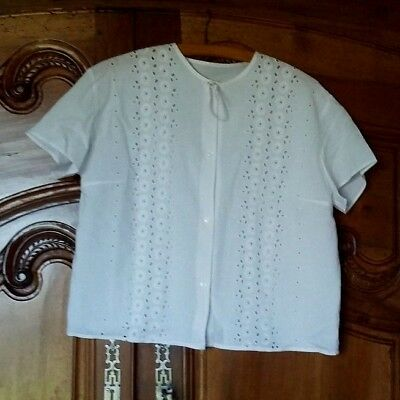 Cute blouse antique english embroidery white cotton