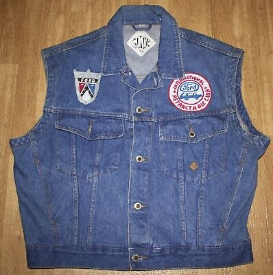 29a11c943fc Womens Upcycled Hand Painted Car s Denim Jean Jacket Vest Slick Size Large  Ford