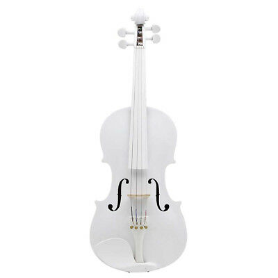 Full Size 4/4 Natural Acoustic Violin Fiddle With Case Bow New White Color