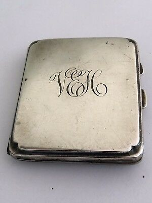 Antique 1926 Solid Sterling Silver Birmingham Cigarette Case Monogrammed