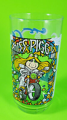 "Miss Piggy On Motorcycle ""The Great Muppet Caper"" Glass By McDonald's - 1981"