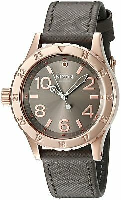 NIXON Women's 38mm Rose Gold-Tone Taupe Leather Watch A4672214-00 NEW!