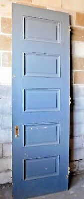 Antique Victorian 5 Panel Interior Door - 1885 Butternut Architectural Salvage