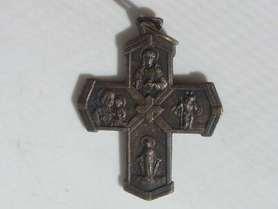 Vintage Pendant Charm Medal Scapular Cross I am a Catholic Please Call Priest