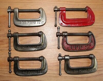 Vintage Lot Of 6 Small Woodworking Blacksmith Machinist C Clamps
