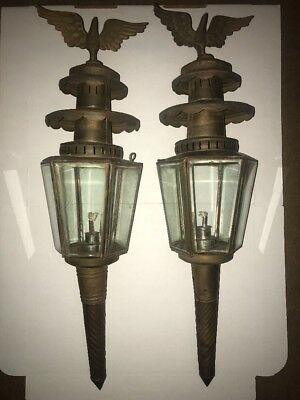 "Pair of Antique 24"" Brass Eagle Finial Coach/Carriage Oil Lamps Lights"