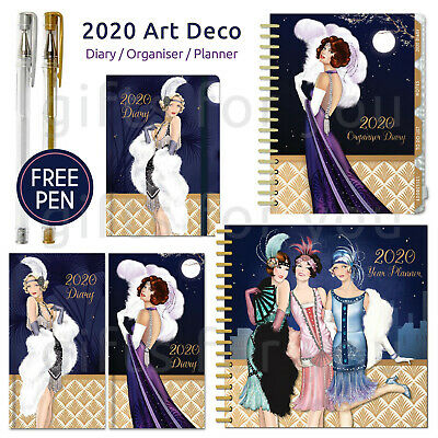 Robert Frederick & Claire Coxon 2019 Art Deco Organiser Diary Planner FREE PEN