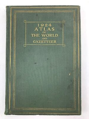 1924 Atlas Of The World And Gazetteer Funk & Wagnalls Maps Information Very Nice