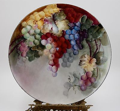 Antique Limoges Grapes  Hand Painted Plaque Tray Charger