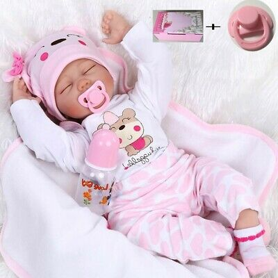 Real Life Like Silicone Reborn Dolls Pink Baby Girl Newborn Doll Xmas Gifts