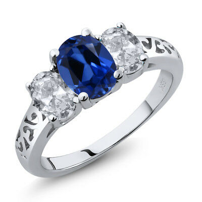 2.60 Ct Oval Blue Simulated Sapphire and White Topaz 925 Sterling Silver Ring