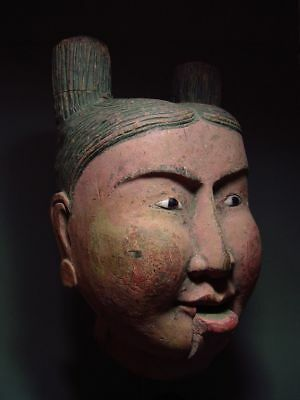 A BURMESE YAMANE WOOD CARVED MARIONETTE PUPPET HEAD LIFE-SIZE. MYANMAR 18/19th C