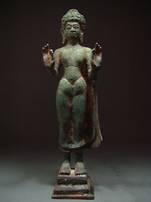 ANTIQUE SOUTHEAST ASIA MON DVARAVATI STANDING BUDDHA. LOPBURI PERIOD. 11/12th C.