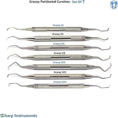 Periodontal Gracey Curettes Set Of 7 Dental Surgical Hygiene Root Planing Scaler