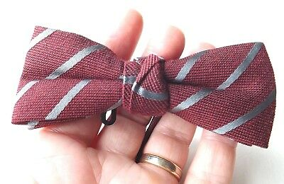 NEXT Ready Tied Bow Tie Claret Silver Striped 13.5 - 20 Inch  Neck FREE P&P