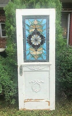 Antique Stained Glass Wood Door Salvage Maryland Original Brass Keyplate c. 1910