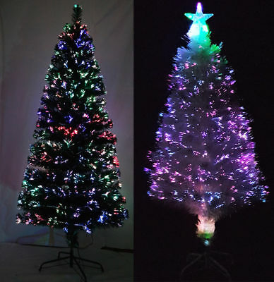3ft 4ft 5ft 6ft 7ft Fiber Optic Multicolored Christmas Tree Changing Lights Star