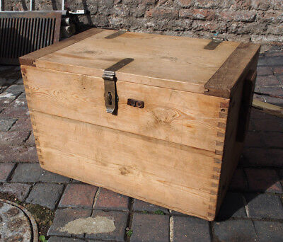 Wooden Trunk Originally For Carrying Explosives With Bronze Fittings Zinc Lined