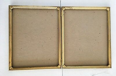Double Hinged Picture Frame 8x10 Gold Brass Metal Glass Felt Back