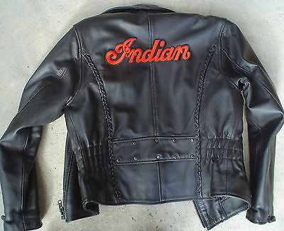 """INDIAN MOTORCYCLE EMBRD """"SCRIPT"""" PATCH ~ 'LARGE' 10""""x3""""  IRON OR SEW ~ PRISTINE!"""