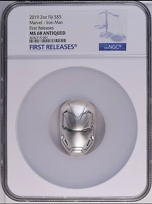 2018 Fiji 2oz Silver Coin Marvel Icon Iron Man Mask First release NGC MS68