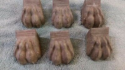 Vintage Lot Of 6 Brass Claw Feet