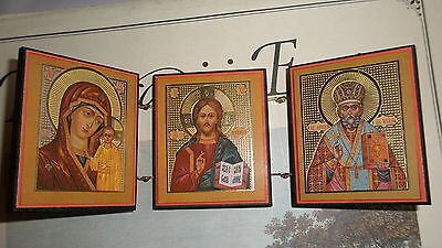 Russian ORTHODOX ICON TRIPTYCH: VIRGIN OF KAZAN, CHRIST PANTOCRATOR ST. NICHOLAS