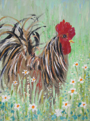 Cockerel in the Wild Meadow: an original painting on canvas by Jenny Hare