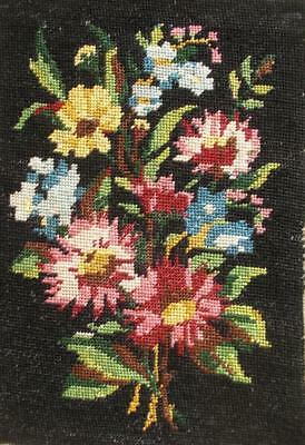 "Vintage completed cotton needlepoint tapestry flowers on black 12.2""x8.5"""