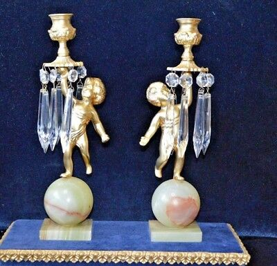 Antique Art Deco Gilt Metal Cherub & Green Onyx Candlesticks with Crystal Drops
