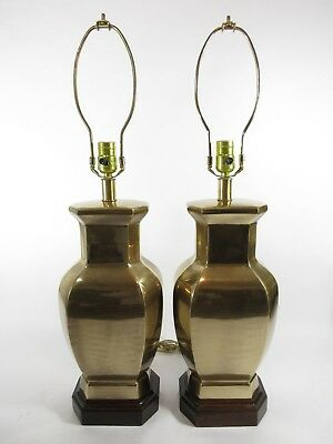Pair of Frederick Cooper Brass Ginger Jar Table Lamps Chinoiserie Urn Vintage