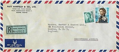 Hong Kong Registered  Air Mail Stamped Cover from Patt Manfield & Co. Ltd.