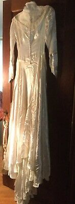 Vtg Bygone Era~1948 Liquid Satin Lace Bridal Formal Gown Art Deco Style