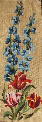 """Vintage needlepoint tulips completed cotton tapestry 18.5""""x6.5"""""""