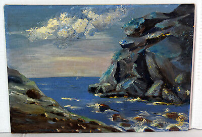 "14"" Oil Painting 1960s Lucille Bodiford Oceanscape Florida Bay View White Clouds"