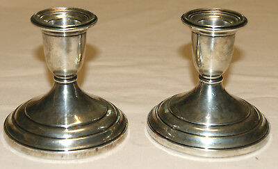 S Kirk & Son Pair of Candlesticks Sterling Cement Filled Good Condition