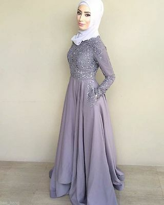 c7d33ab5059 Muslim Long Sleeve Arabic Evening Prom Gown Party Formal Dress Hijab Custom