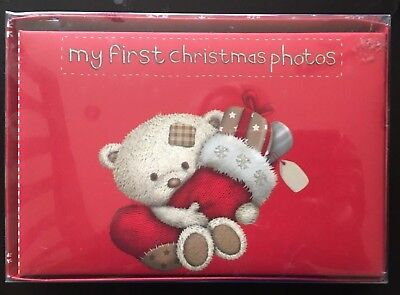 MY FIRST CHRISTMAS PHOTOS RED ALBUM Holds 36 6 x 4 Photos New in sealed Box