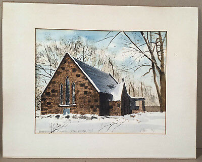 Englewood NJ: c.1970s BROOKSIDE CHAPEL, by Gray's Watercolors Ringoes NJ