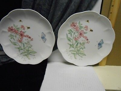 """Set of Two [2] Lenox Butterfly Meadow  SWALLOWTAIL  Salad 9"""" Luncheon Plates"""