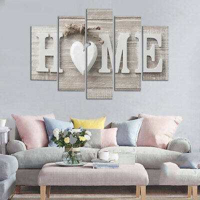 5 Panels Love HOME Wall Art Print Pictures Canvas Wall Art Prints Unframed For H